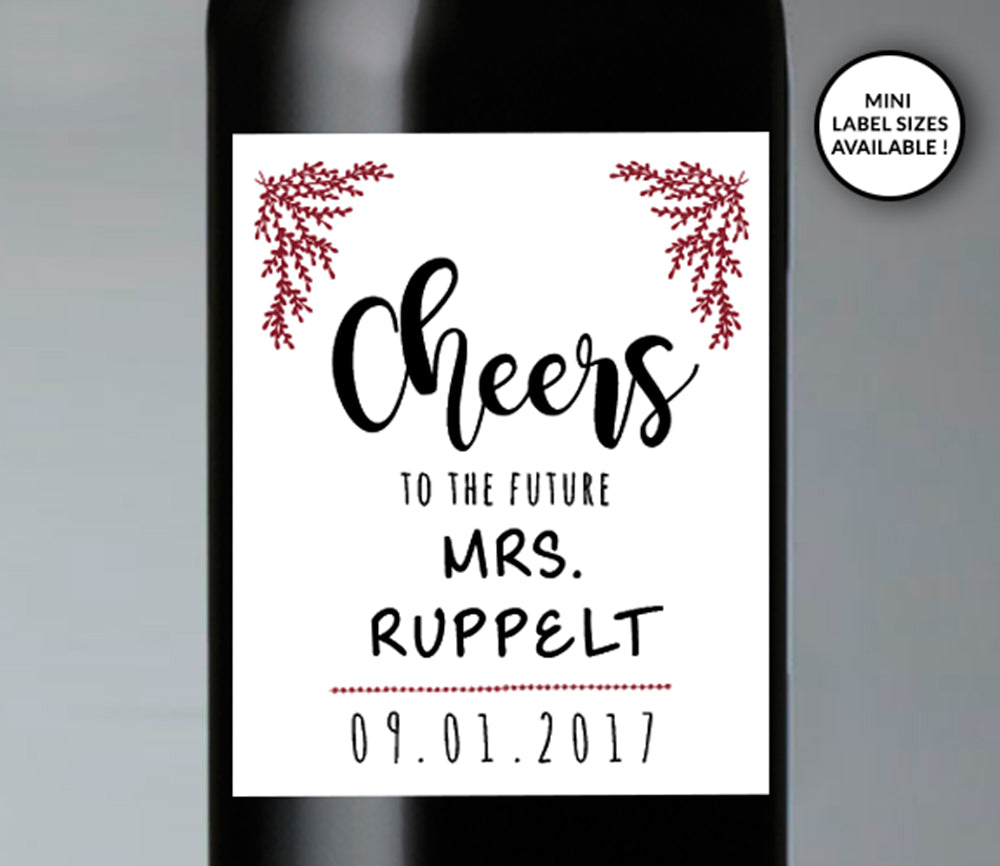 Cheers Wedding Wine Bottle Labels | Standard & Mini Sizes Available - DesignsbyZal