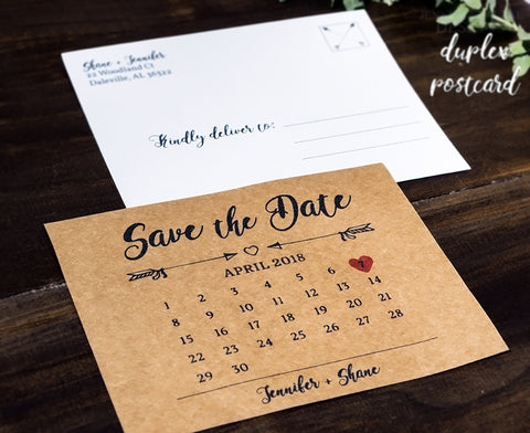 Rustic Save the Date Calendar Postcard Announcement for Weddings - DesignsbyZal