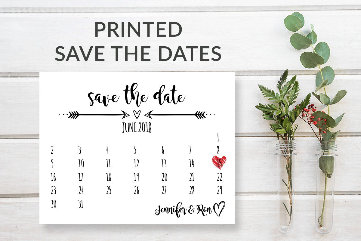 Rustic Save the Date Calendar Card Template - DesignsbyZal