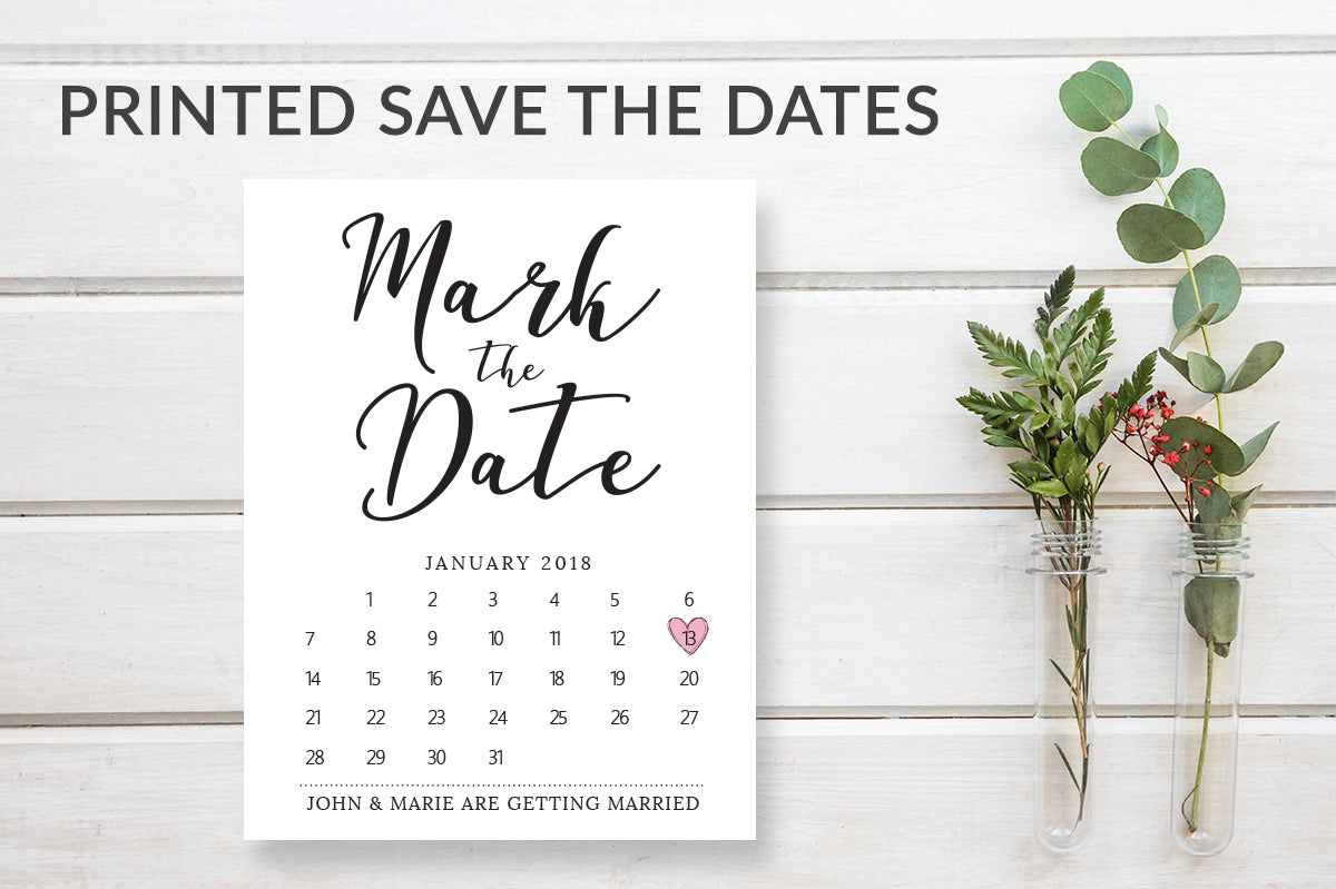 Mark the Date Printed Wedding Calendar Date Cards