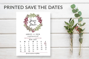 Rustic Wreath Save the Date Calendar Cards - DesignsbyZal