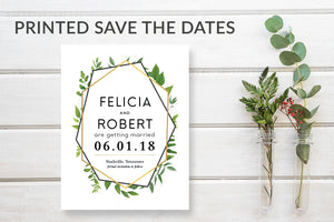 Green & Gold Geometric Greenery Save the Date Card - DesignsbyZal