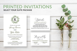 Rustic Monogram Wreath Wedding Invitations - DesignsbyZal