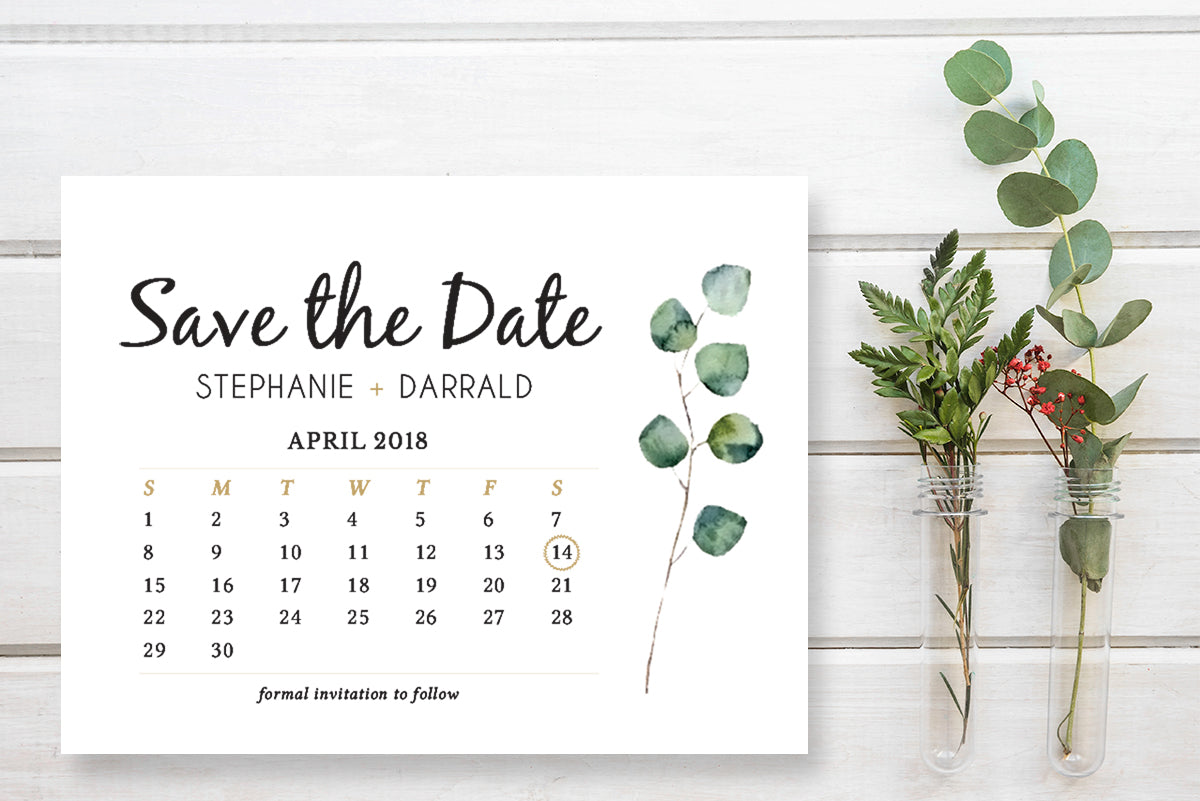 Rustic Eucalyptus Greenery Save the Date Postcard Template - DesignsbyZal