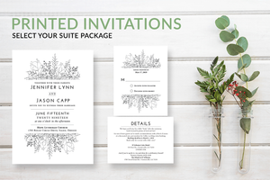 Simple Rustic Greenery Wreath Wedding Invitations