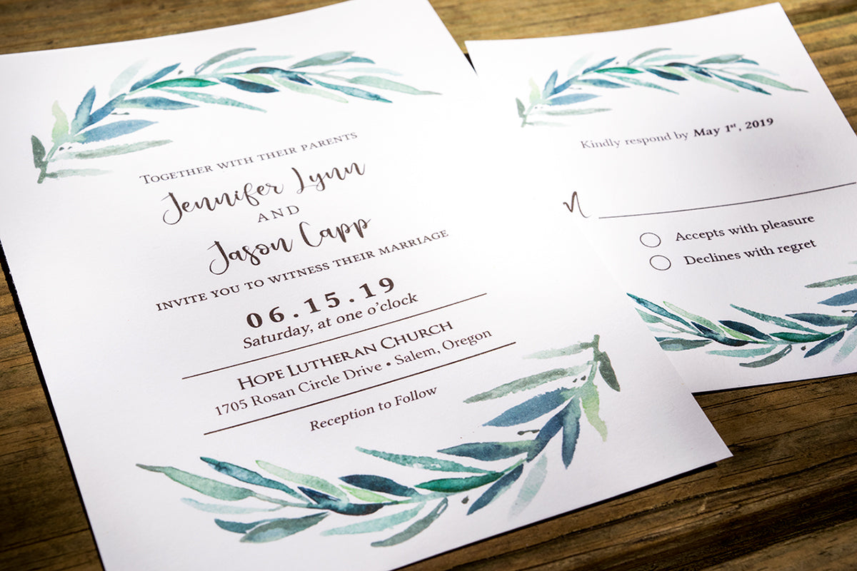 Rustic Greenery Wreath Wedding Invitations - DesignsbyZal