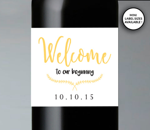 Welcome to Our Beginning Wedding Wine Labels | Standard & Mini Sizes Available