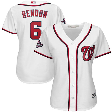 Women's Anthony Rendon Washington Nationals Majestic 2019 World Series Champions Home Cool Base Patch Player Jersey White