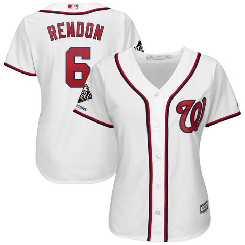 Women's Anthony Rendon Washington Nationals Majestic 2019 World Series Champions Home Official Cool Base Bar Patch Player Jersey White