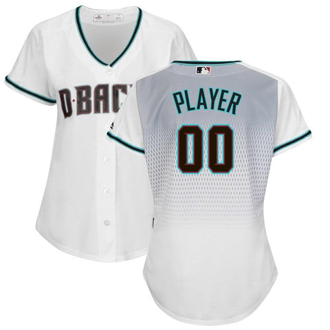 Women's ArizonaDiamondbacks Majestic Alternate Cool Base Custom Jersey White Aqua