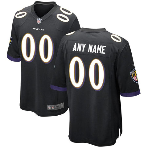 BaltimoreRavens Nike Alternate Replica Custom Game Jersey - Black