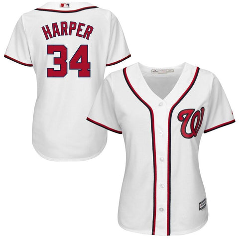 Women's Bryce Harper Washington Nationals Majestic Cool Base Player Jersey White