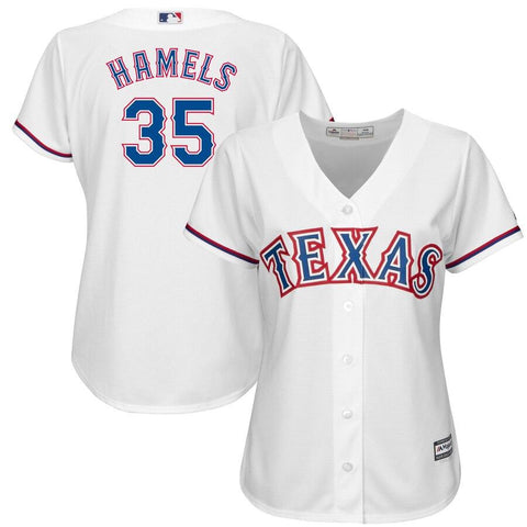 Women's Cole Hamels Texas Rangers Majestic Official Cool Base Player Jersey White