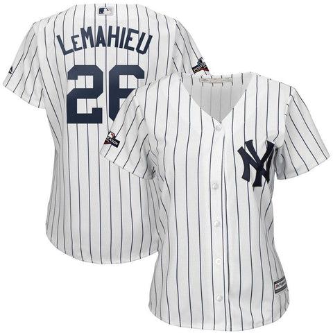 Women's DJ LeMahieu New York Yankees Majestic 2019 Postseason Official Cool Base Player Jersey White Navy