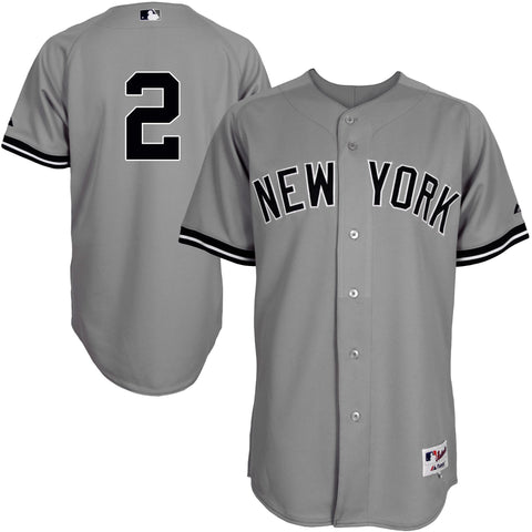 Derek Jeter New York Yankees Majestic Authentic Jersey Gray