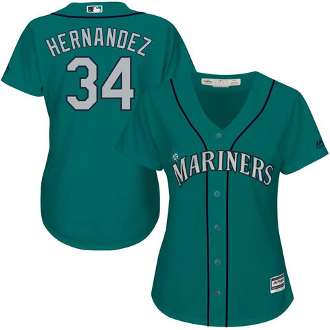 Felix Hernandez Seattle Mariners Majestic Women's Cool Base Player Jersey Northwest Green