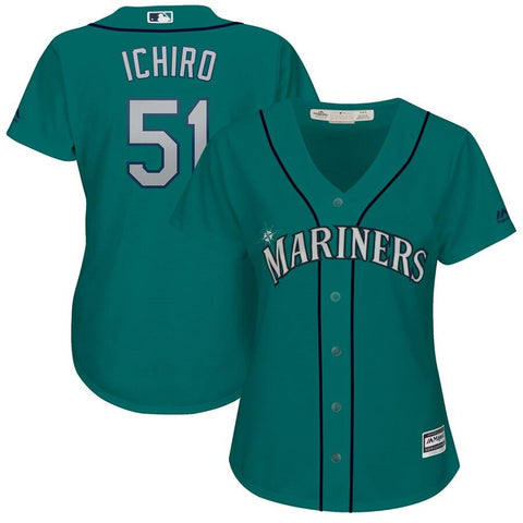 Ichiro Suzuki Seattle Mariners Majestic Women's Cool Base Player Jersey Aqua