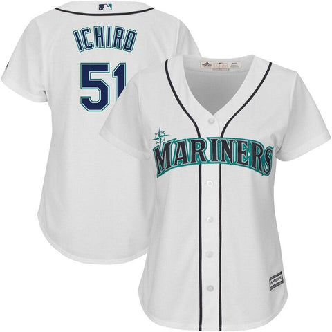 Ichiro Suzuki Seattle Mariners Majestic Women's Team Cool Base Player Jersey White