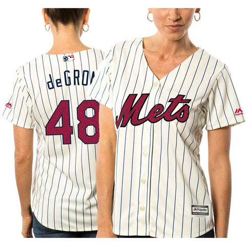 Jacob deGrom New York Mets Majestic Women's Fashion Stars Stripes Cool Base Player Jersey White