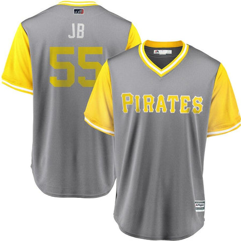 Josh Bell JB Pittsburgh Pirates Majestic 2018 Players Weekend Cool Base Jersey Gray-Yellow