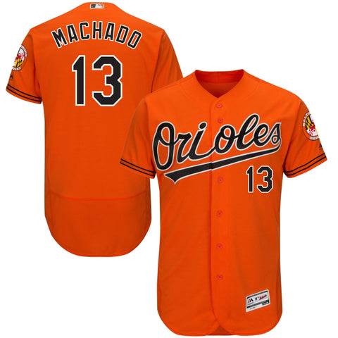 Manny Machado Baltimore Orioles Majestic Alternate Flex Base Authentic Collection Player Jersey Orange