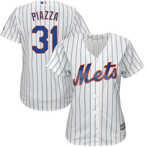 Mike Piazza New York Mets Majestic Women's Home Cool Base Player Jersey White Royal