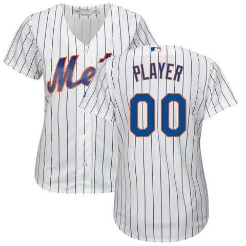 NewYork Mets Majestic Women's Cool Base Custom Jersey White Royal