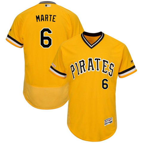 Starling Marte Pittsburgh Pirates Majestic Alternate Authentic Collection Flex Base Player Jersey Yellow