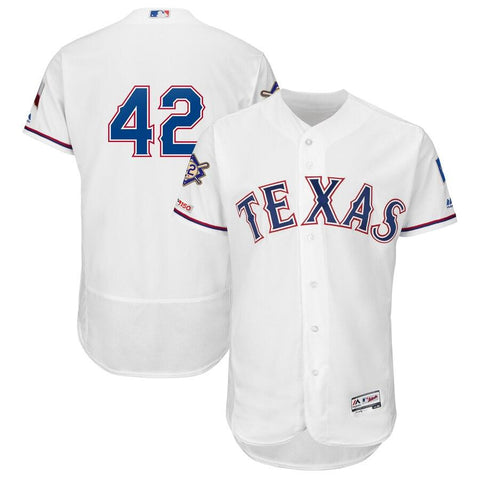 TexasRangers Majestic 2019 Jackie Robinson Day Flex Base Jersey White