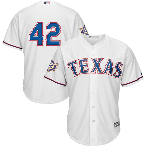 TexasRangers Majestic 2019 Jackie Robinson Day Official Cool Base Jersey White