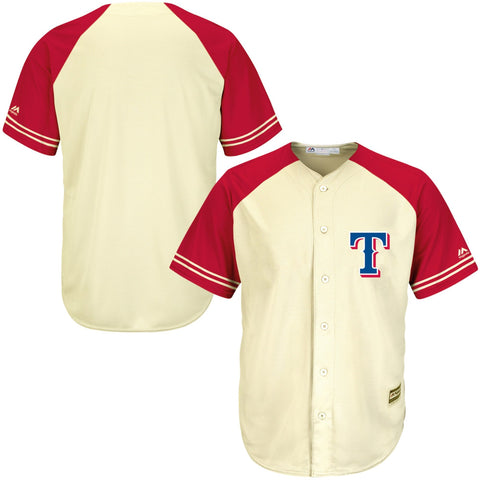 TexasRangers Majestic Cool Base Ivory Fashion Team Jersey CreamRed