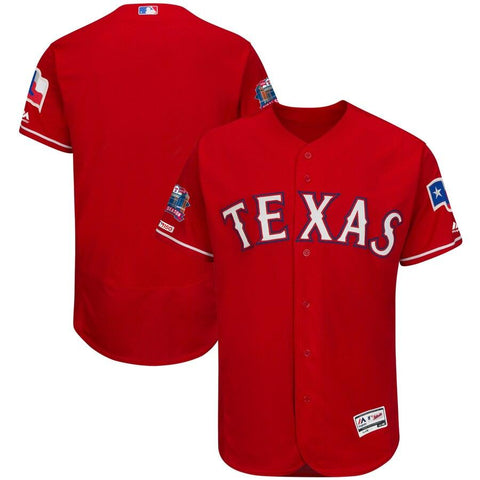 TexasRangers Majestic Final Season Stadium Patch Alternate Flex Base Team Jersey Scarlet