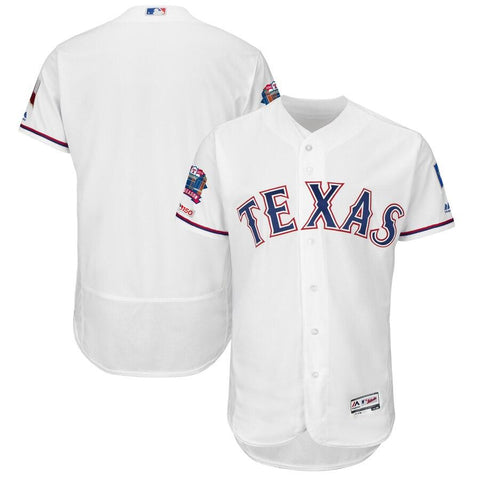 TexasRangers Majestic Final Season Stadium Patch Home Flex Base Team Jersey White