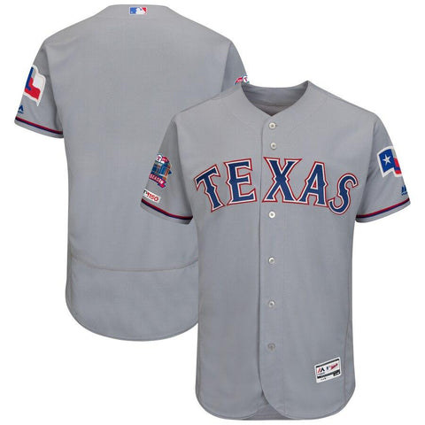 TexasRangers Majestic Road Final Season Stadium Patch Authentic Collection Flex Base Team Jersey Gray