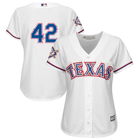 Women's TexasRangers Majestic 2019 Jackie Robinson Day Official Cool Base Jersey White