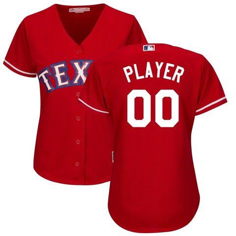 Women's TexasRangers Majestic Alternate Cool Base Custom Jersey Scarlet
