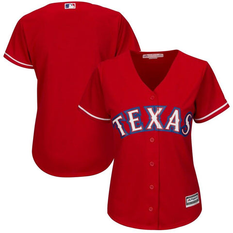 Women's TexasRangers Majestic Alternate Cool Base Replica Team Jersey Scarlet