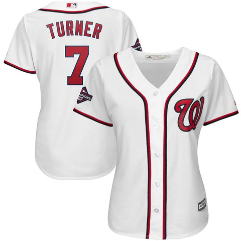 Women's Trea Turner Washington Nationals Majestic 2019 World Series Champions Home Cool Base Patch Player Jersey White