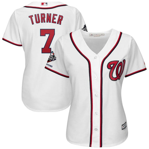 Women's Trea Turner Washington Nationals Majestic 2019 World Series Champions Home Official Cool Base Bar Patch Player Jersey White