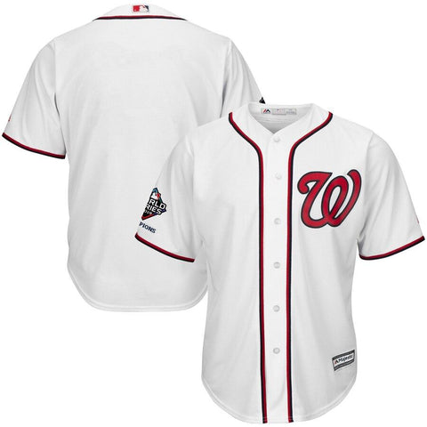 WashingtonNationals Majestic 2019 World Series Champions Home Official Cool Base Bar Patch Jersey White