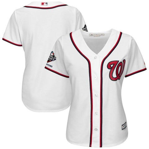 Women's WashingtonNationals Majestic 2019 World Series Champions Home Official Cool Base Bar Patch Jersey White