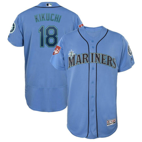 Yusei Kikuchi Seattle Mariners Majestic 2019 Spring Training Flex Base Player Jersey Light Blue