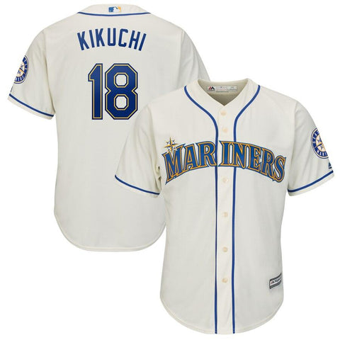 Yusei Kikuchi Seattle Mariners Majestic Official Cool Base Player Jersey Cream