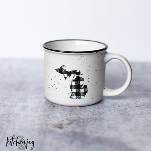 Michigan Mitten Buffalo Plaid Camp Mug