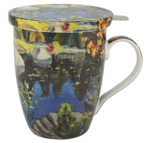 Lismer Lily Pond, Georgian Bay Tea Mug w/ Infuser and Lid - McIntosh Shop - 1