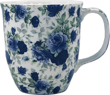 Load image into Gallery viewer, Pretty Chintzy Dark Blue Roses Java Mug