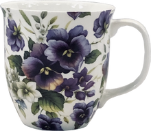 Load image into Gallery viewer, Pretty Chintzy Purple Pansies Java Mug