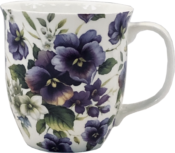 Pretty Chintzy Purple Pansies Java Mug