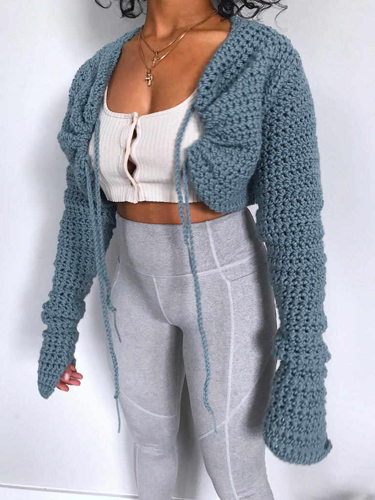 GATHERED PULL-STRING TIE CARDIGAN.