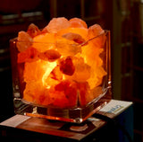 himalayan pink salt rock  lamp bowl  crystal authentic real aromatherapy  square glass stone gift